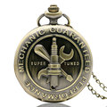 Old Bronze Antique Mechanic Guaranteed Performance Them 3D Super Tuned Words Design Pocket Watch