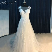 2017 New Vintage White Cap Sleeves O Neck A Line White Lace Appliques Bridal Gowns Long Wedding Dresses 2017 vestido de noiva