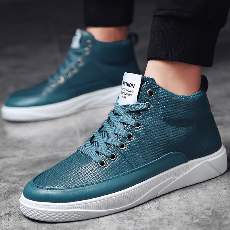 2366842b7553 Sneakers men high top microfiber platform shoes brand fashion plaid mens  shoes black lace up hot footwear male vulcanize shoes-in Men s Vulcanize  Shoes from ...
