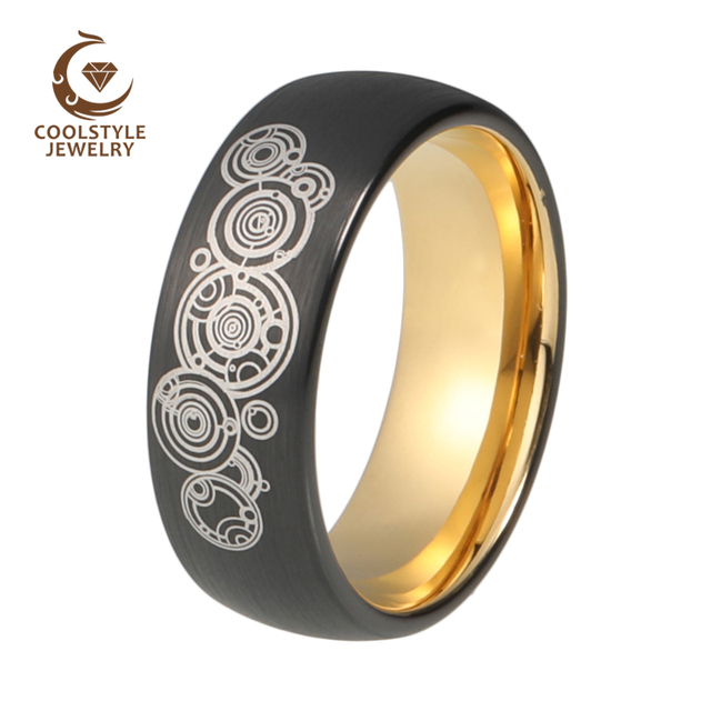 8mm doctor who black tungsten carbide wedding band engagement ring yellow gold color domed brushed custom - Doctor Who Wedding Ring