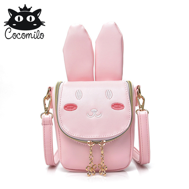 Kids Girls rabbit shape Messenger Bags Mini Cartoon Cute School Bag pink  Children coin purse lovely b7dd5da45f5a1
