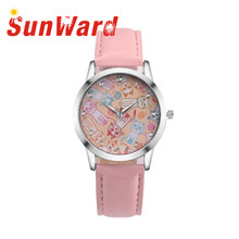 Sunward Relogio Feminino Saat Clock Cute Cat Fake Leather-based Analog Quartz Trend Girls Watches Horloge 2017Could15