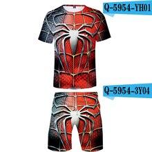 2019 двухсекционный набор футболки и шорты паук вдали от дома причинно-следственные костюмы с набивн