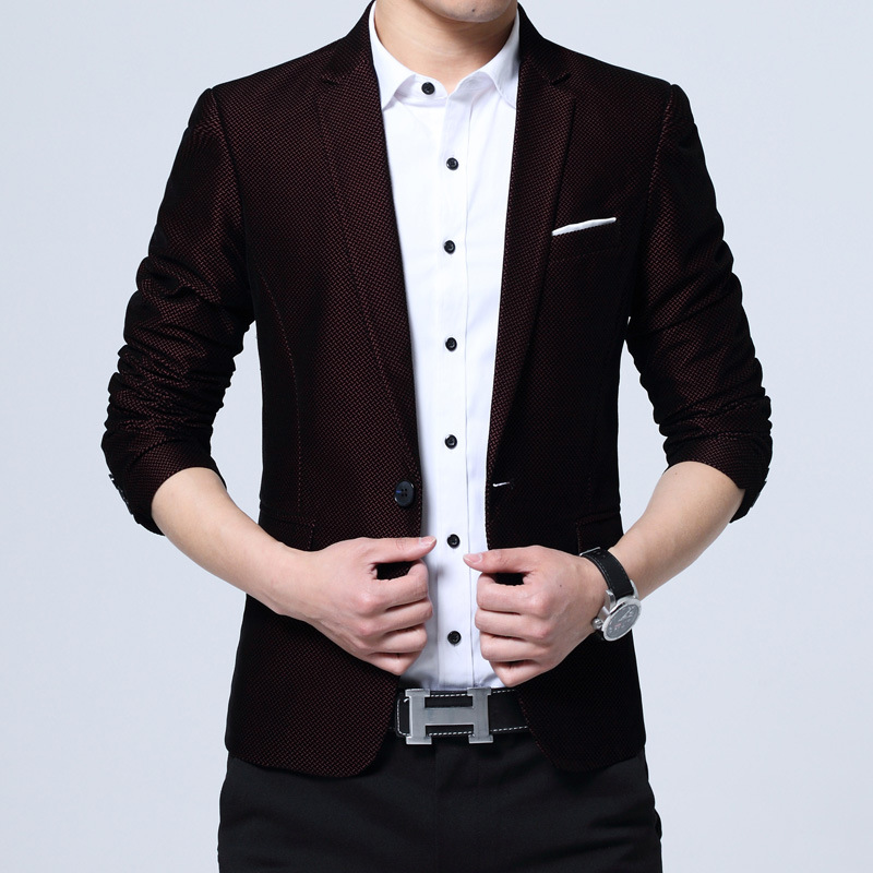 In The Fall Of The New 2020 Men's Leisure Blazer Cultivate One's Morality Small Blazer Young Business Blazer Is Pure Color