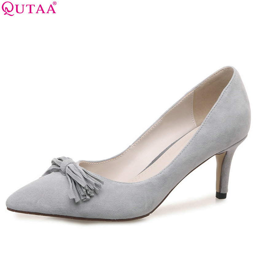 QUTAA 2018 Women Pumps  Butterfly-knot Fashion Women Shoes Kid Suede Pointed Toe Thin Heel Sweet Style  Ladies Pumps Szie 34-39 2017 new fashion brand spring shoes large size crystal pointed toe kid suede thick heel women pumps party sweet office lady shoe