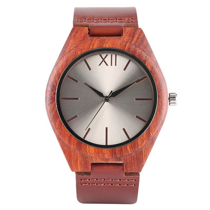 Unique Men Bamboo Wood Watches Men's Quartz Hour Clock Retro Wooden Wrist Watch Male Relogio Father Boyfriend Guys Birthday Gift