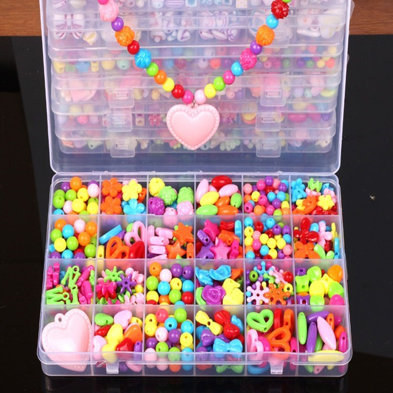 Kids Beads DIY Jouet Mixed Colored Beads Puzzle Toys Jewelry Necklace Bracelet Kit Christmas Educational Toys For Girls Children