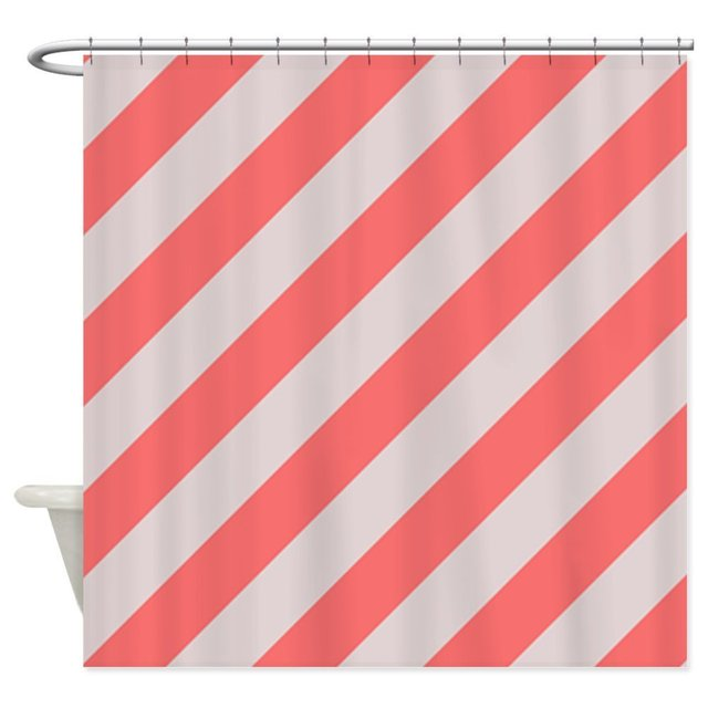 Warm Tour Coral Pink and Cream Stripes Shower Curtain Fabric ...