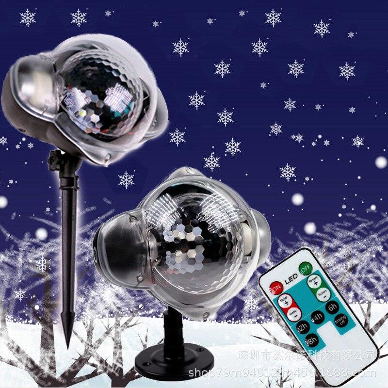 Новый рождественский открытый светодиодный свет снегопад, Снежинка лампы проектора, садовый снег душ AU ЕС, США, Великобритании Подключите с...