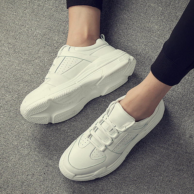 2018 New Casual White off Shoes Man Sneaker Fashion Zapatos Single Shoes Men Non-Slip Leisure Light and Simple Flat Ankle Boot