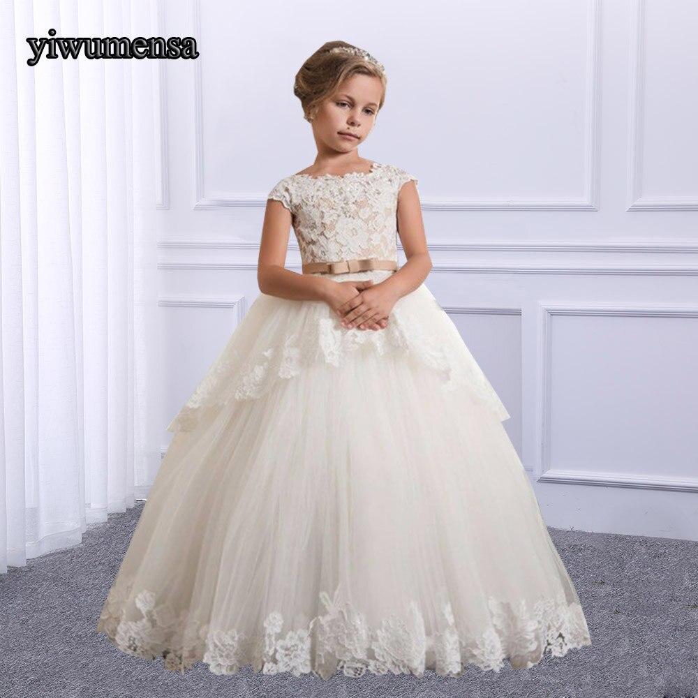 Romantic White Ivory Puffy Lace Short Sleeve Flower Girl Dress For