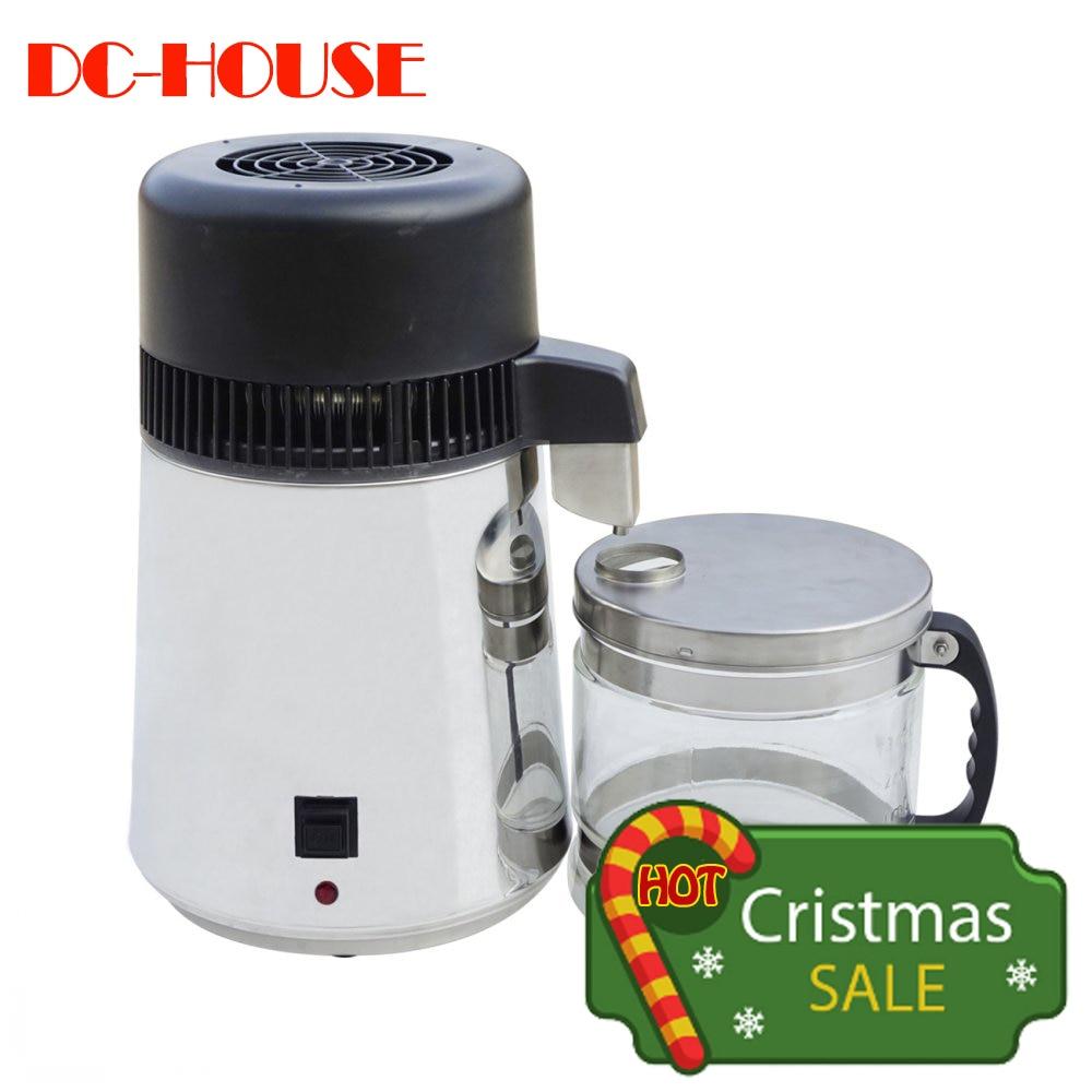 220 V distillateur d'eau 4L acier inoxydable Pur filtre purificateur d'eau Avec bocal en verre