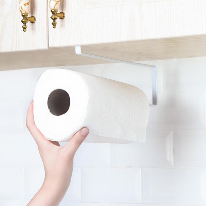 Toilet Paper Holder Kitchen Cabinet Door Rack Toilet Paper Towel Shelf Household Organizer Towel Rack WC Paper Holder Organizers