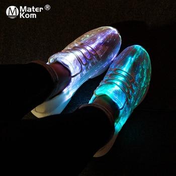 save off 074bb 65b74 Größe 30-42 Leucht Turnschuhe Fiber Optic Schuhe für Frauen Männer Jungen  Mädchen LED 11 Farben
