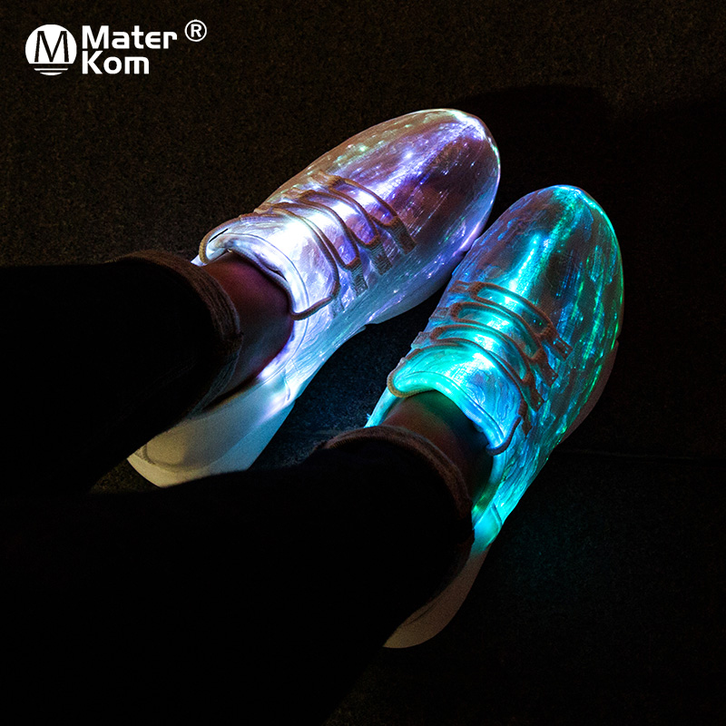Size 30-42 Luminous Sneakers Fiber Optic Shoes for Women Men Boys Girls LED 11 Colors USB Rechargeable Sneakers with Light