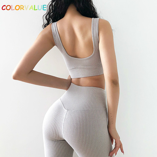 $ US $26.40 Colorvalue 2PCS/Set Seamless Fitness Yoga Suit Women Stretchy Workout Sport Set Padded Sports Bra High Waist Legging Sportswear