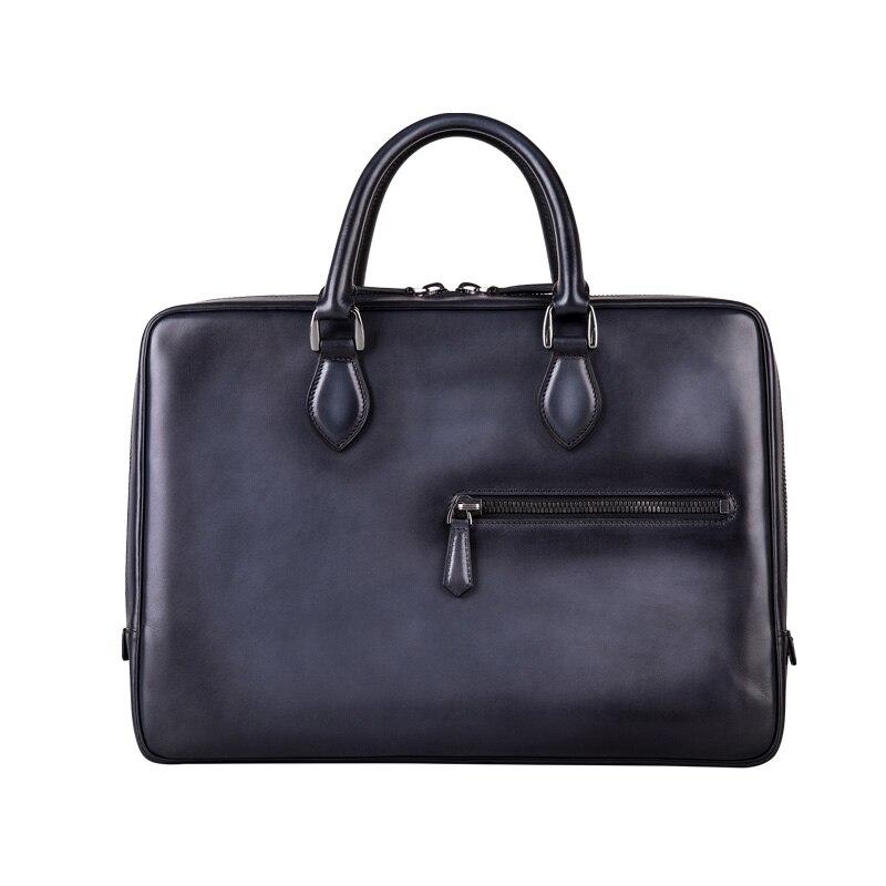 Luxury handcrafted Italian leather Briefcase Messenger Bag Shoulder handbag hand patina Laptop Business Case Travel bag For Men