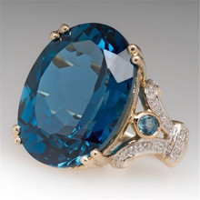 Yobest, anillos de cristal de oro de corte de princesa de piedra grande azul para mujeres, niñas, compromiso, regalo de cumpleaños, joyería, anillo de lujo