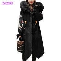 New Women Korean Down cotton coat Long Winter waist Cotton Jacket women's Embroidery Hooded Fur collar coat Jackets Tide B933
