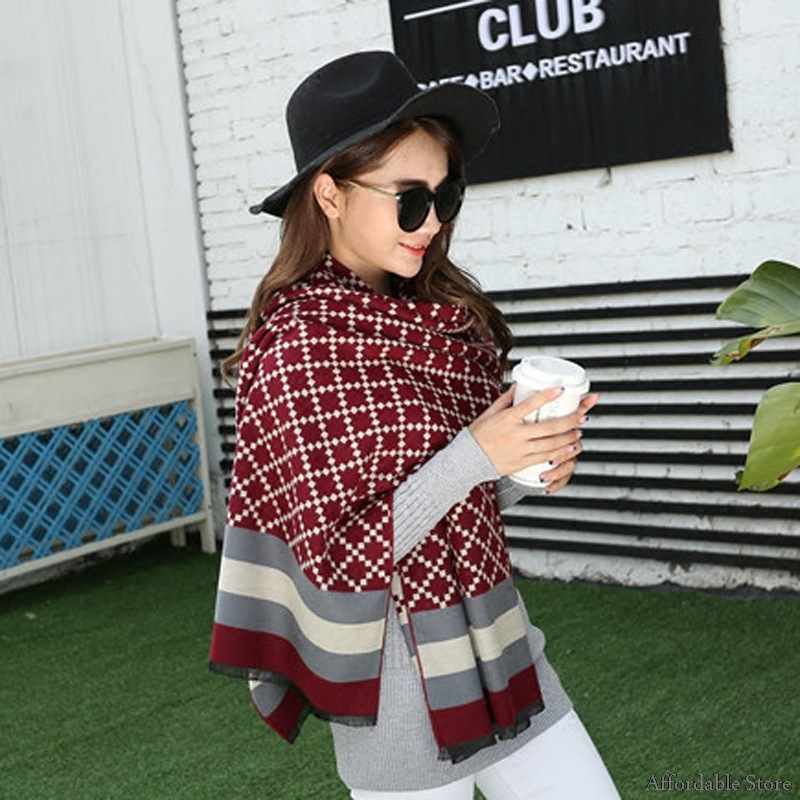 Autumn and winter scarves shawl double-sided dual-use scarf grid scarf office air conditioning shawl