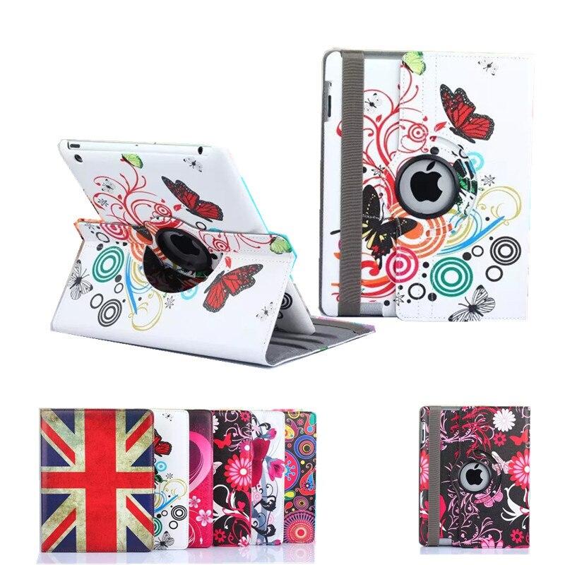 Nouvelle 360 Degrés Rotatry Pour ipad Mini Fleur Peiné Drapeau Stand Funda Case Pour Apple iPad Mini 3 2 1 Flip De Protection Tablet Case