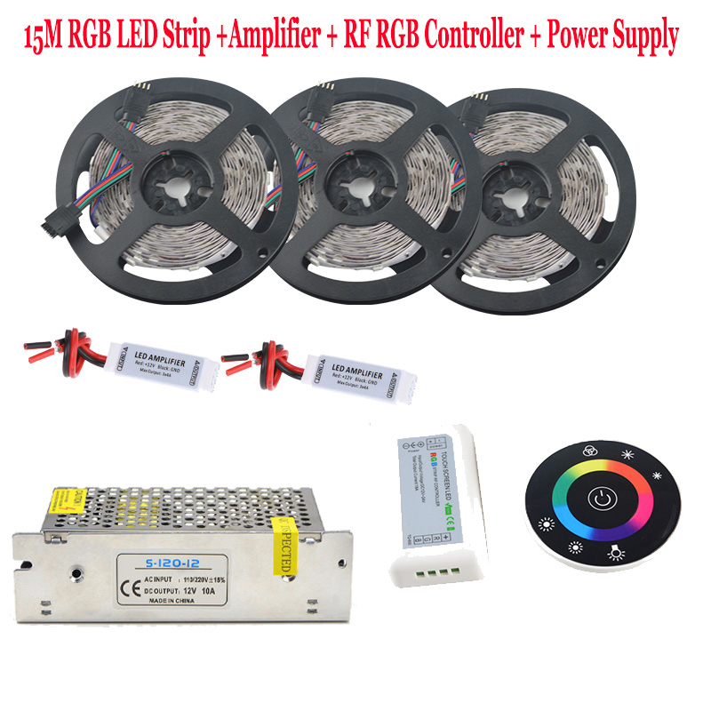 5050 IP65 Waterproof RGB LED Strip Diode Tape Flexible Holiday Light RF Remote Controller 12V 15A