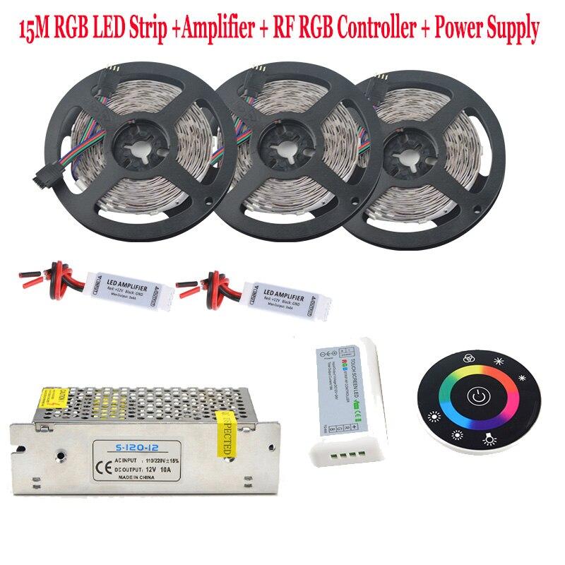 5050 IP65 LED rgb imperméable bande Diode bande Flexible vacances lumière RF télécommande 12 V 15A alimentation pour piscine jardin