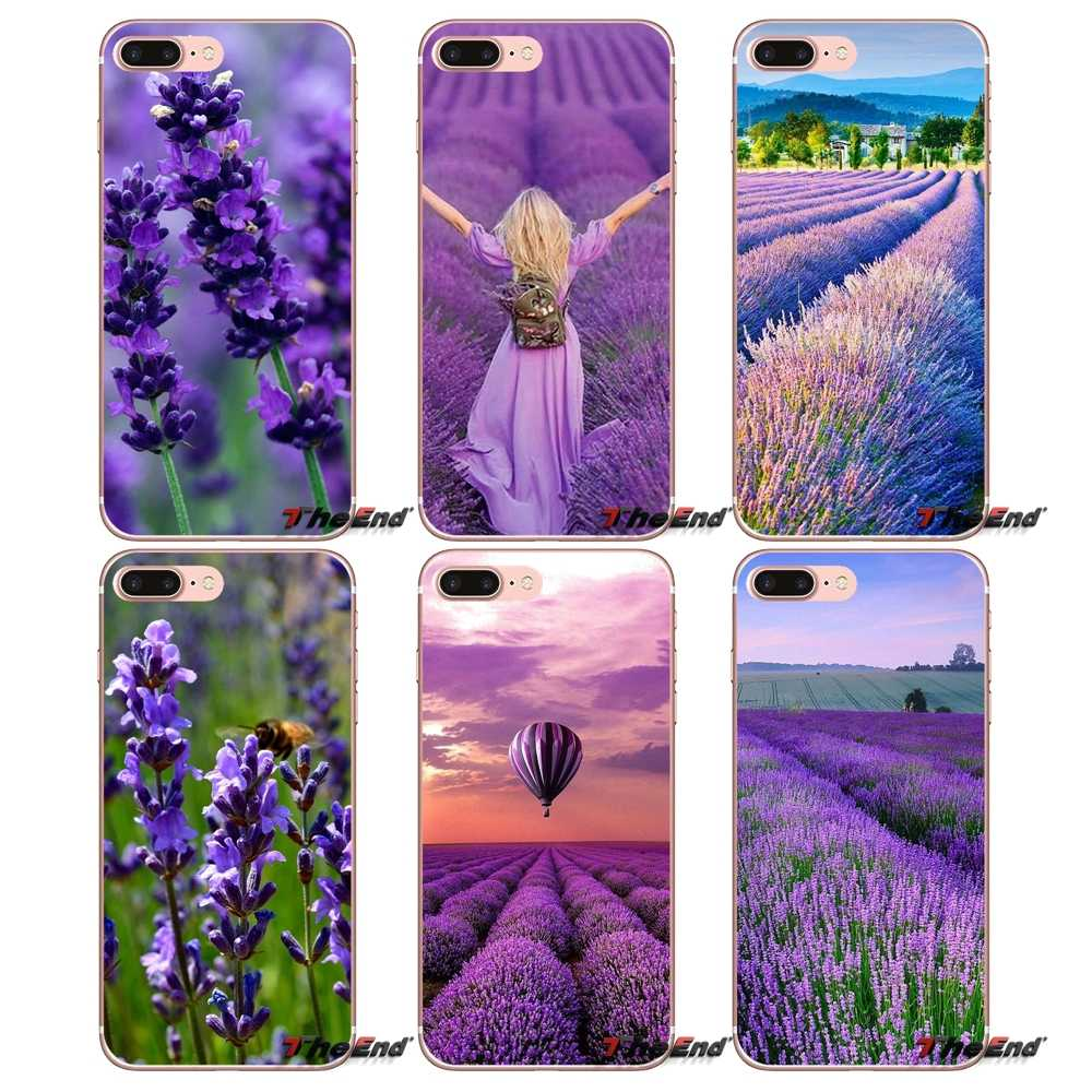 For iPhone X 4 4S 5 5S 5C SE 6 6S 7 8 Plus Samsung Galaxy J1 J3 J5 J7 A3 A5 2016 2017 Case Cover Provence Lavender Purple Flower