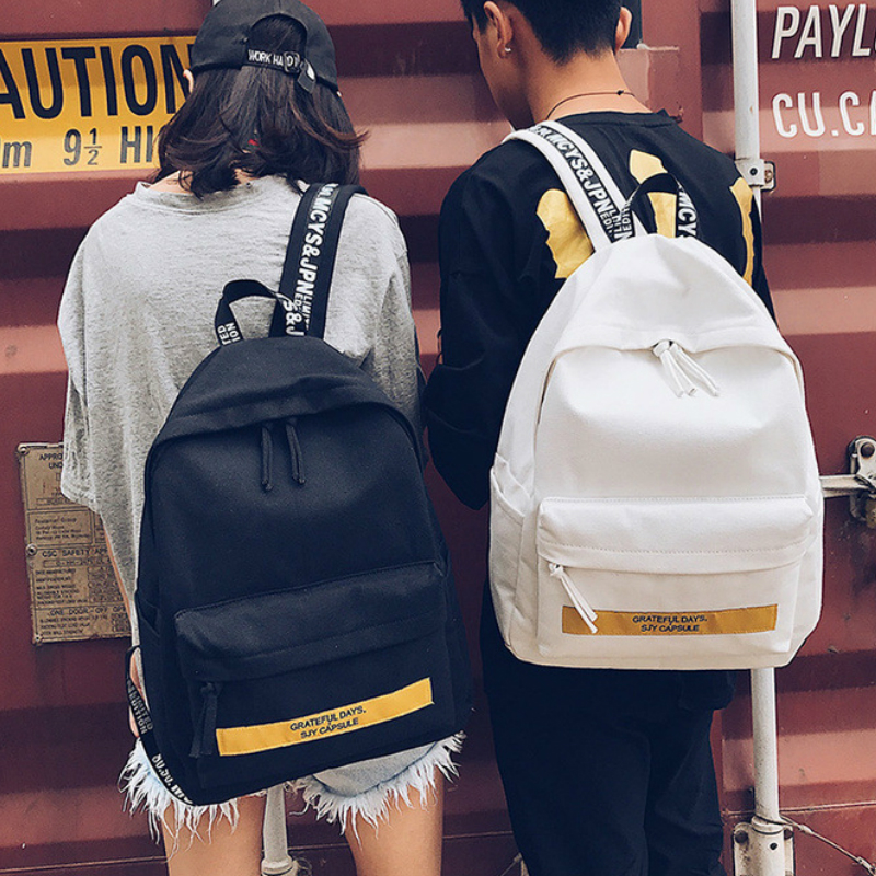 2017 Summer Autumn New Hot Fashion Women Female Casual Zipper Letters Korean Schoolbag Simple Canvas Man Male Backpacks Bags free shipping korean version candy colors fairy tail logo printing man woman canvas schoolbag red green black blue backpacks