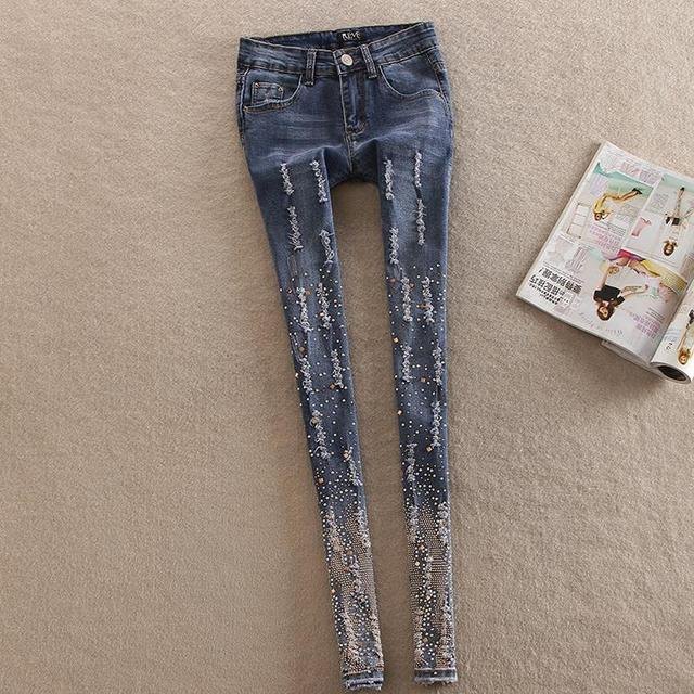 New jeans woman stetch denim waist diamond Rhinestone pants pencil jcalca jeans feminina plus size