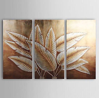 3 pcs Hand Painted Canvas Painting Gold and Silver Foil Floral Oil ...
