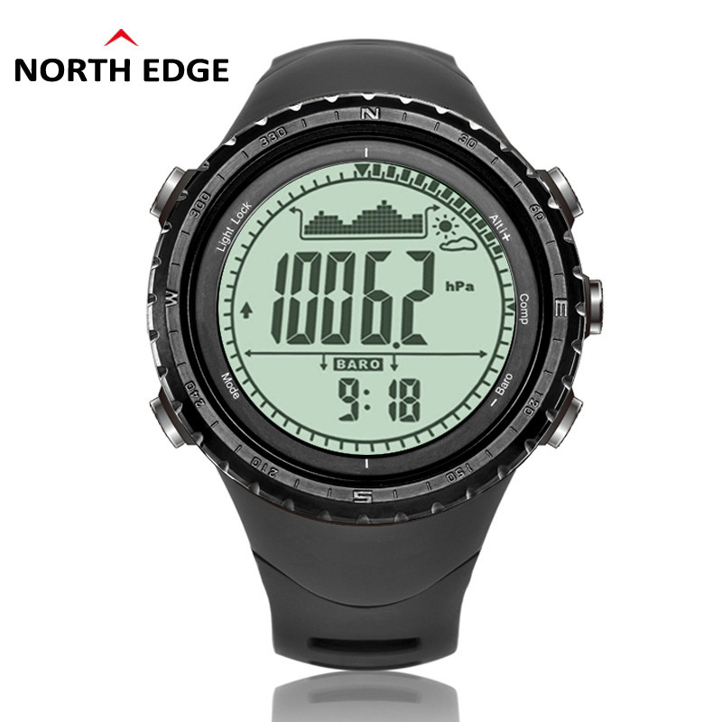 NorthEdge Men Sports Watch Altimeter Barometer Compass Thermometer Weather Forecast Pedometer Watches Digital Running Climbing outdoor sports watches men skmei brand countdown led men s digital watch altimeter pressure compass thermometer reloj hombre