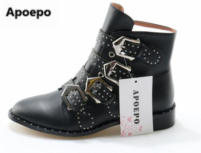 Apoepo women boots Diamond ankle boots round toe rivets studded riding boots black leather motorcycle boots 2017 bota feminina карабин black diamond black diamond rocklock twistlock