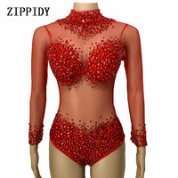 4 Colors luxurious Rhinestones Leotard Stones Perspective Mesh Bodysuitlong Sleeves Sexy Stage Performance Costumes