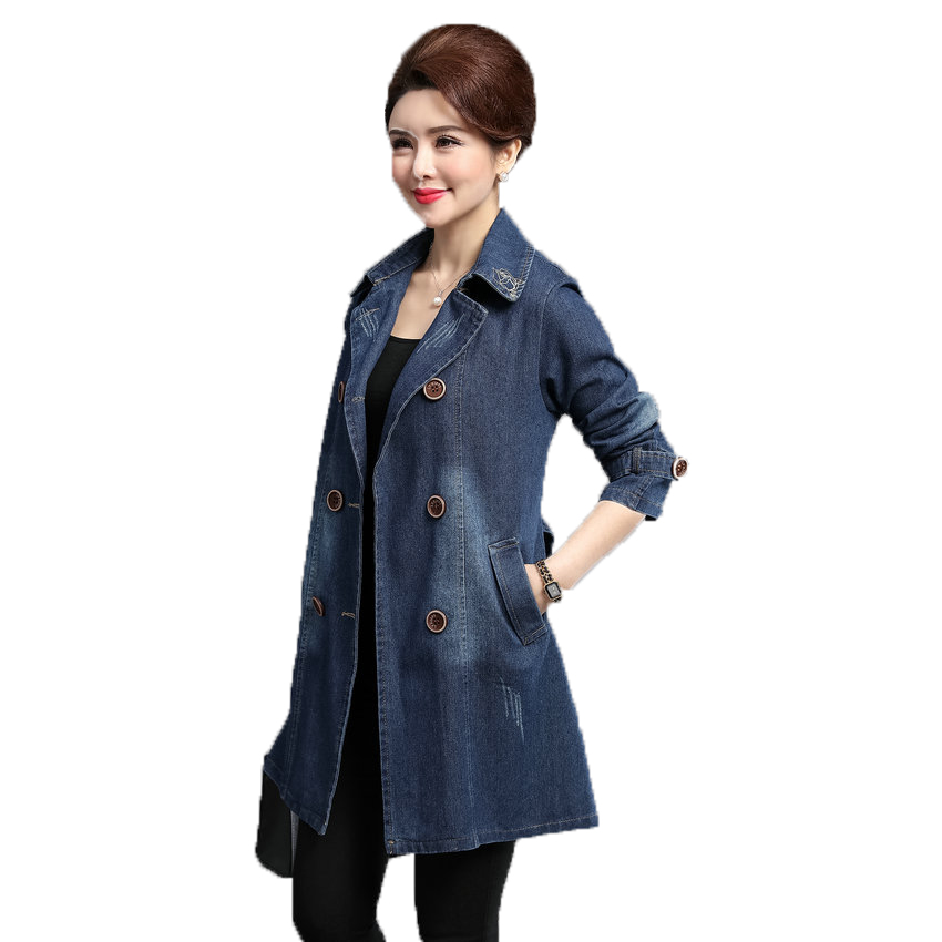 British Style Women Double breasted Denim Trench Coat Woman Casual Jeans Duster Coats Plus Size Overcoats Lady Leisure Trenches