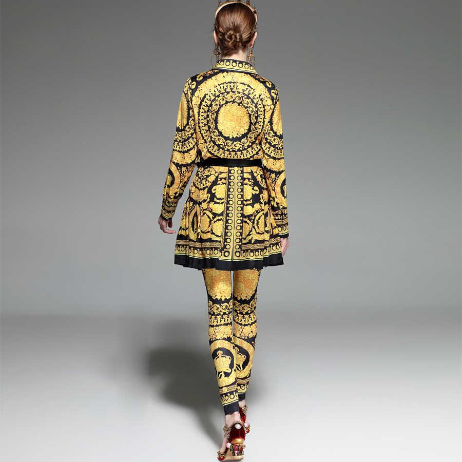 Luxe 3 stuks Set Runway Zomer Set vrouwen 2018 Europese Noble Gold Bloemen Gedrukt Shirt + Plooi Rok Broek casual Suits