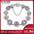 Оригинал, серебро 925 пробы, кристал, клевер с четырьмя листами, браслет с чистым муранским стеклом, бусы, очаровательный браслет, для женщин, ...