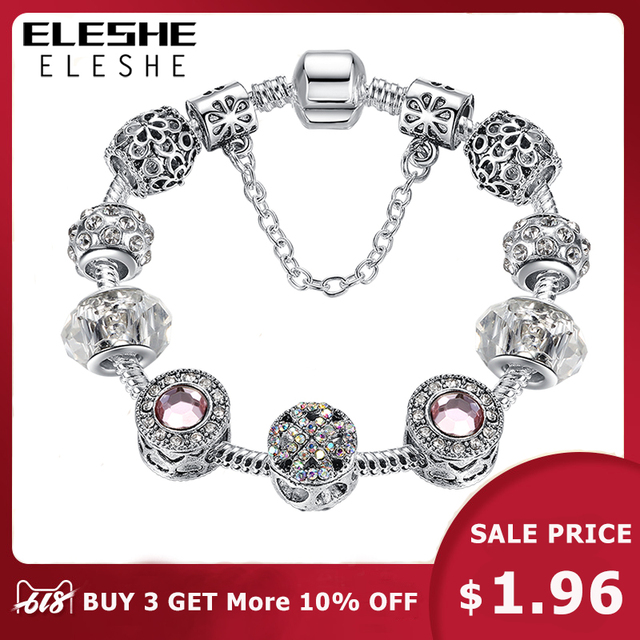 Original Silver Crystal Four Leaf Clover Bracelet 925 with Clear Murano Glass Beads Charm Bracelet Bangle for Women DIY Jewelry