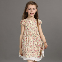Fashion Floral Print Kids Summer Dress Frock Designs Girl Party Dress Lace Designs Teen Dress Camperas Nena Baby Girl Clothes