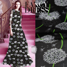 SASKIA 1Meter/Lot Thin Pure 100%Mulberry Silk Chiffon Printed Flower Fabrics Textile Sewing For Dress Cloth Scarf Fabric