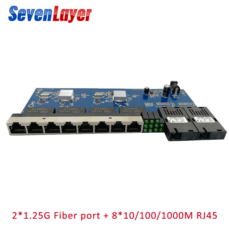10/100/1000M Gigabit Ethernet Switch Fiber Optical Media Converter PCBA 8 RJ45 UTP And 2 SC Fiber Port Board PCB