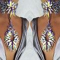 Ladyfirst boho multicolor atractivo de cristal de lujo gargantillas collar y colgante de collar de compromiso de la boda las mujeres collar de la declaración 3898