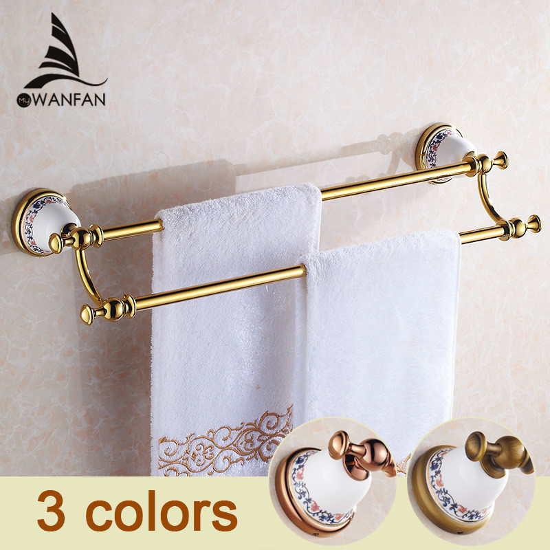 все цены на Newly Luxury Wall Mounted Bathroom Towel Bar Golden Finished Double Bar Ceramics Base Towel Holder Rack Solid Brass XL-3311