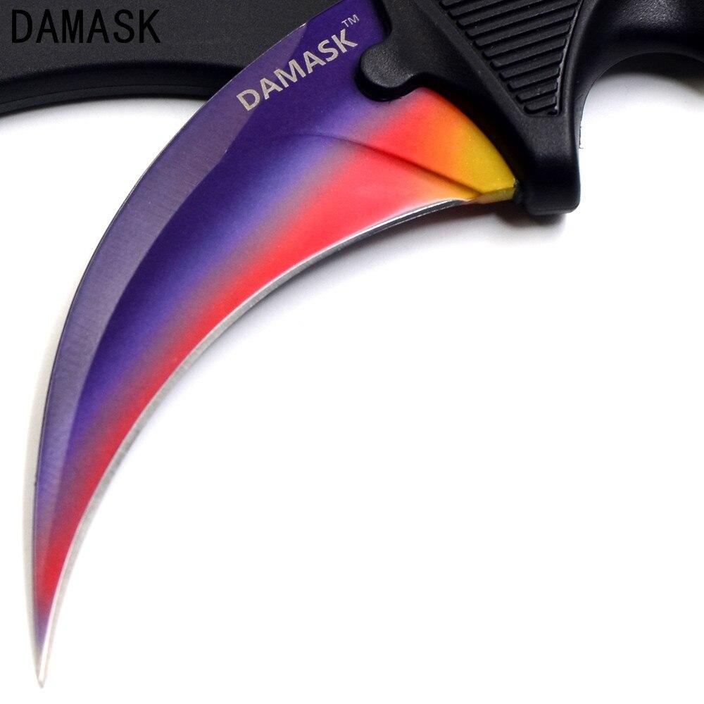 Populaire Damassé Marque Counter Strike CSGO Sharp Karambit Couteau Pratique de Défense Personnelle En Plein Air Camping Couteau de Survie Outils