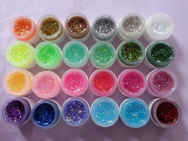 24 Pots Fluorescent Glitter Color Builder Uv Gel Shiny Nail Fashion Polish