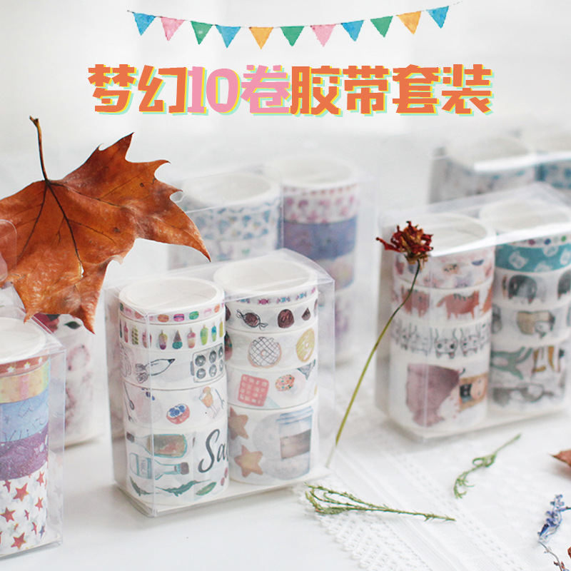 10 Rolls/Set Stationery Wholesale Variety Of Cartoon Dreams Washi Paper Tape DIY Scrapbooking Material Decoration Stickers