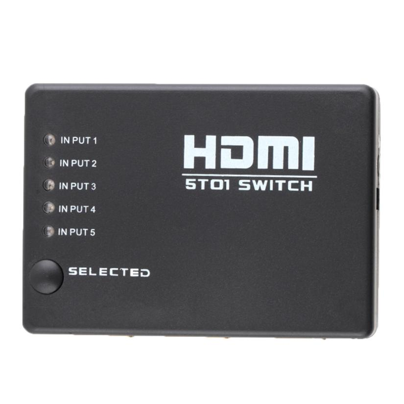 5 Port 1080P Video HDMI Switch Switcher Splitter for HDTV DVD PS3+ IR Remote datum cable18Apr16