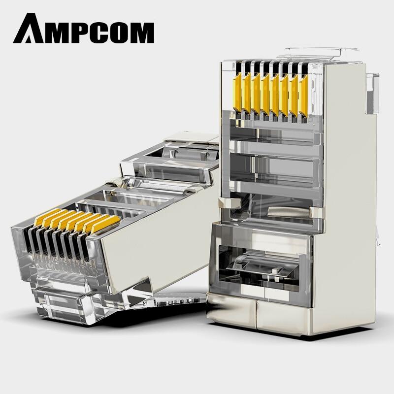 AMPCOM CAT6 Afgeschermde RJ45 Modulaire Plug Connector 8P8C Crimp End Ethernet Kabel Ethernet Connector Vergulde 50U-in Stekkers en snoeren van Consumentenelektronica op title=