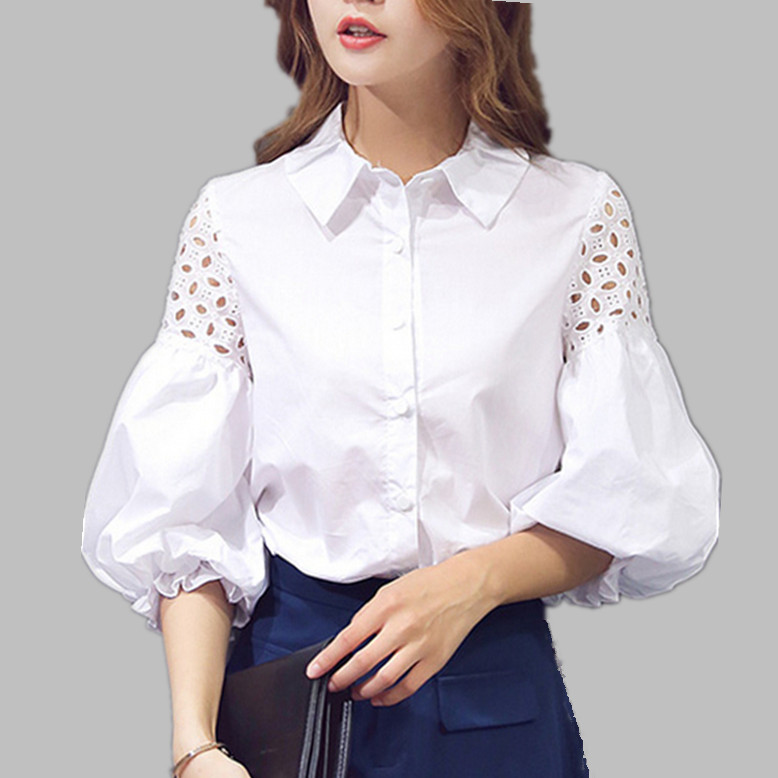 Puff Short Lantern Sleeve hollow out Blouse 2016 New