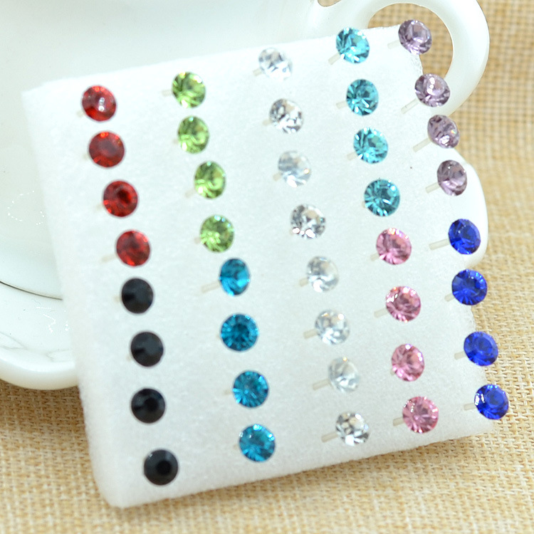 WLP7/10/ 20 /40 Pcs/ Set ! New Brand Colorful & White Rhinestone Stud Earrings Set Classic Style Fashion Jewelry Crystal Earring